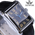 square Mens Watches SEWOR Top Brand Luxury Automatic mechanical Watch Leather Strap calendar  Male Clock Vintage Wrist Watches