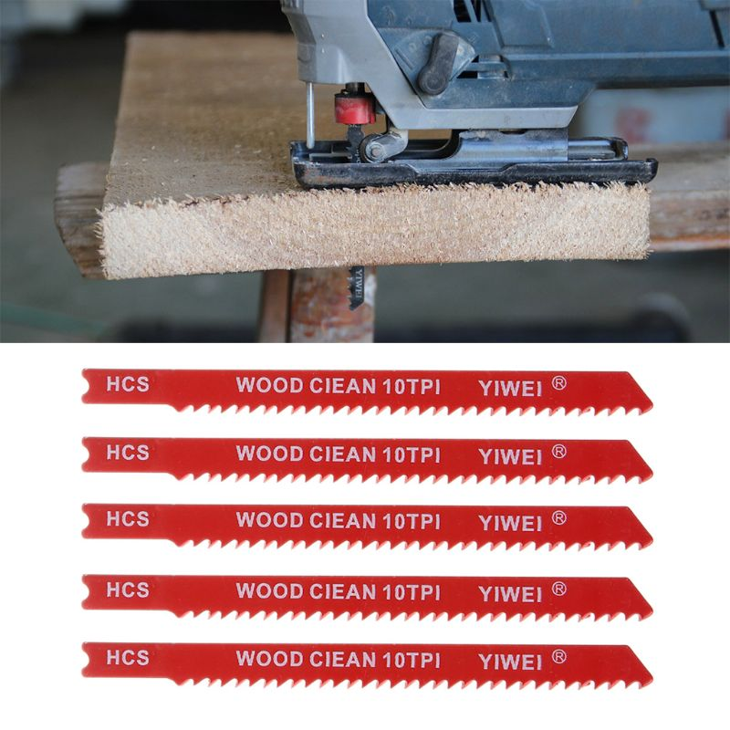 5pcs Durable U-shank High Carbon Steel 10 TPI Reciprocating Saw Blade Cutter For Wood Jig Cutting