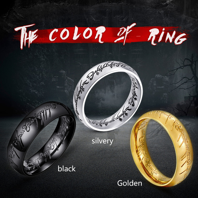 steel soldier steel men ring of power gold lord of the ring hobbit charm high quality women fashion 2018 magic jewelry