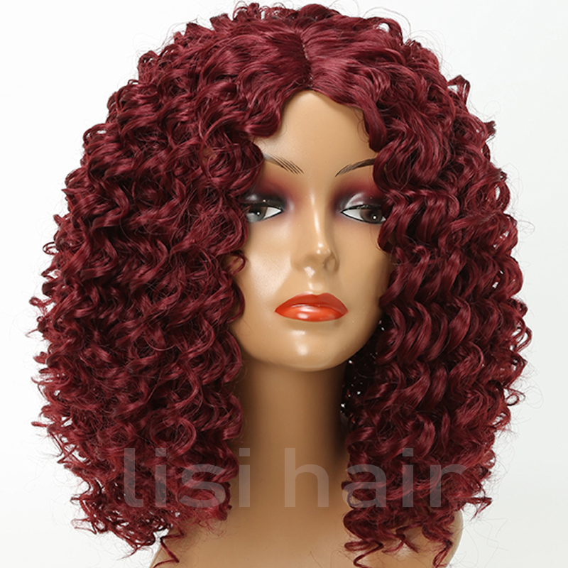 Lisi Hair Short Curly Hair Red Color Synthetic Wigs For Black Women