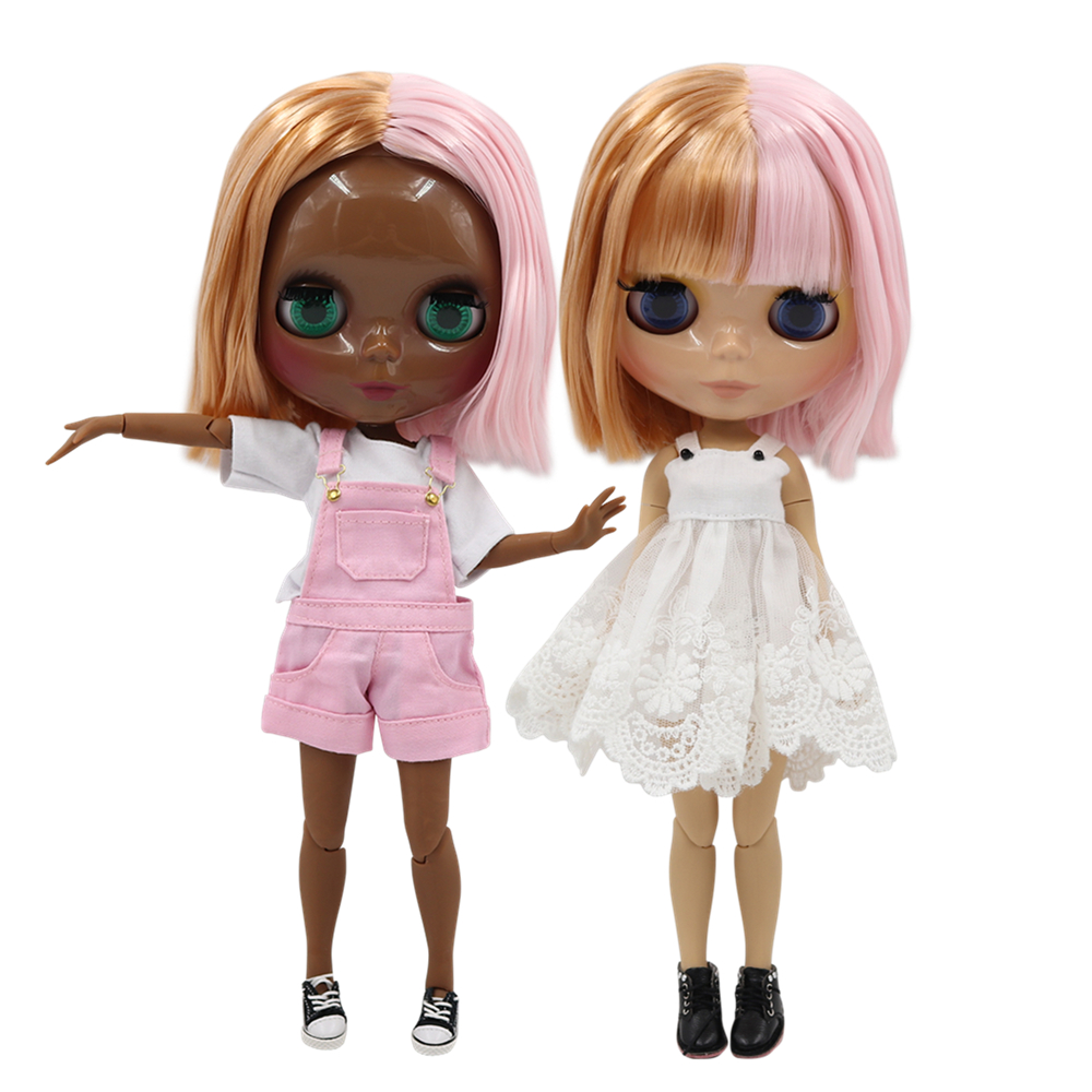 ICY factory blyth doll 1/6 bjd doll joint body, tan skin or super black skin golden mix pink hair, 30cm BL2240/2352-in Dolls from Toys & Hobbies    1