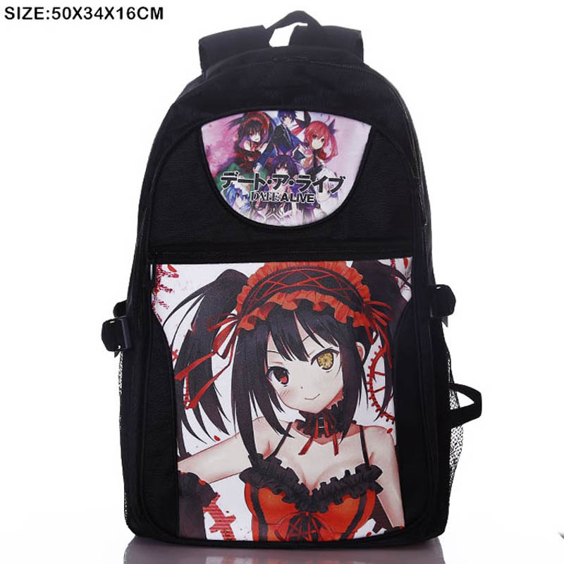 Anime Date A Live Tokisaki Kurumi Laptop Backpack/Double-Shoulder/School/Travel Bag for Teenagers or Animation Enthusiasts attack on titan scouting legion laptop black backpack double shoulder school travel bag for teenagers or animation enthusiasts