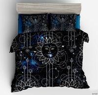 2 3 Pieces Star Accompanys Sun Duvet Cover With Pillowcase Black Dark Blue Bedding Set Twin