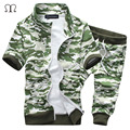 Армия зеленый костюм мужчины люксовый бренд установить 2016 лето мужская Мода костюм chandal hombre толстовка мужчины камуфляж военного костюма