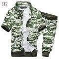 Army green tracksuit men luxury brand set 2016 summer mens Fashion suit chandal hombre sweatshirt men camouflage military suit