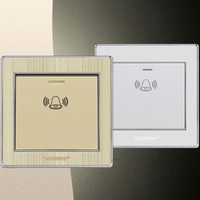 Doorbell Wall Switch Elegant White Brushed Gold 86 Type Panel Electric Push Button Switch 10A 220V