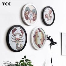 4Pcs/Set Round Wooden Picture Frames Creative Gift Wall Hanging Wood Picture Holder Wall Mounted DIY Poster Photo Frame Round(China)