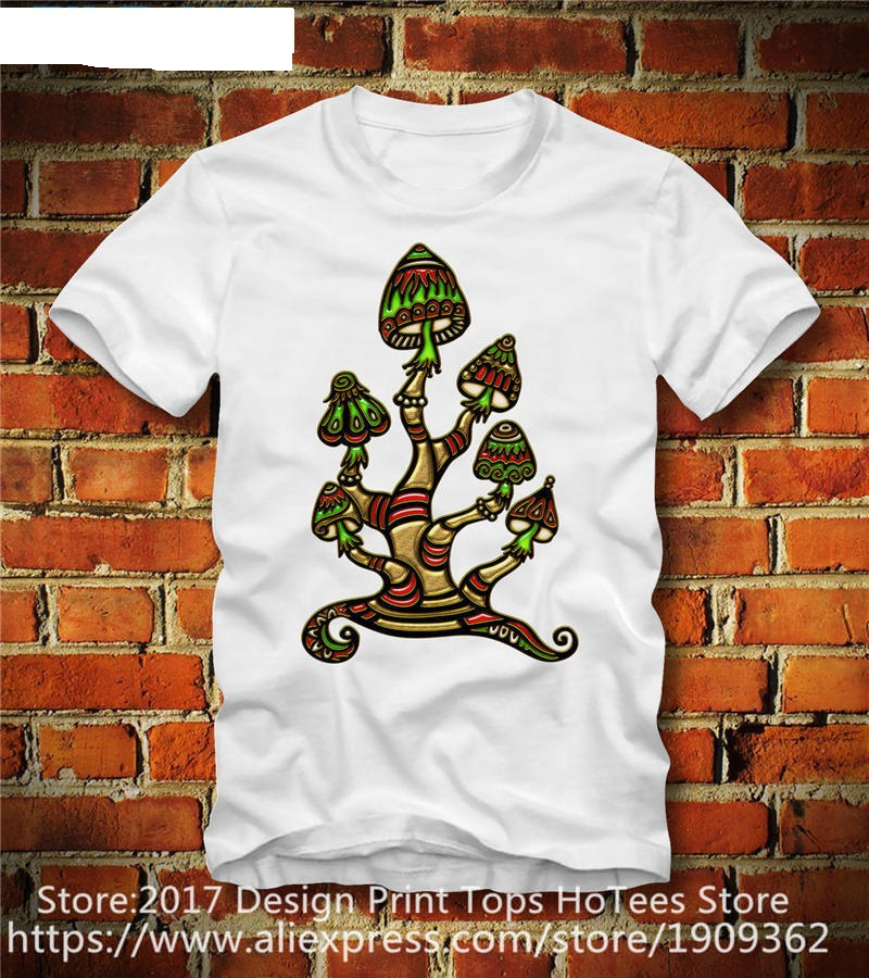 Fashion 100 Cotton T Shirt Short Funny Crew Neck Mens Magic Mushrooms T Shirt in T Shirts from Men 39 s Clothing