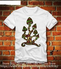 Fashion 100% Cotton T Shirt  Short Funny Crew Neck Mens Magic Mushrooms