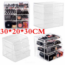 HOT Anti-Scratch Clear Acrylic Cosmetic Jewelry Makeup Organizer Box Case 4 Storage Drawer Cases Holder Make Up Storager Boxes