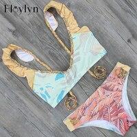 ABOUTTHEFIT High Neck Cropped Top Swimsuit 2017 Bikini Set Brazilian Retro Print Biquini Bodycon Padded Triangulo