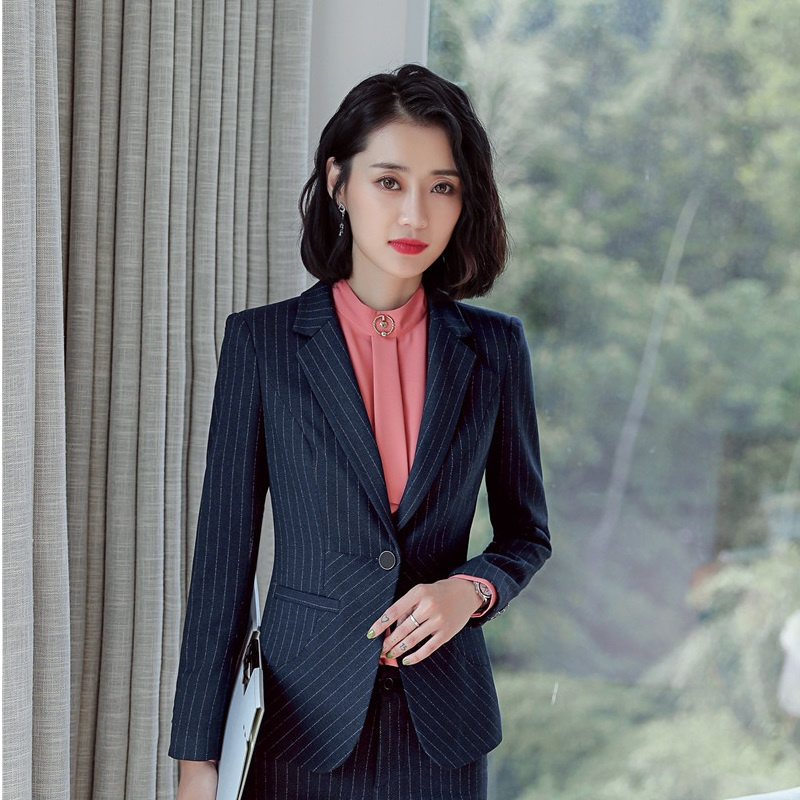 Fashion Striped 2018 Autumn Winter Formal Blazers & Jackets Coat For Business Women Ladies Blazer Female Tops Outwear Clothes