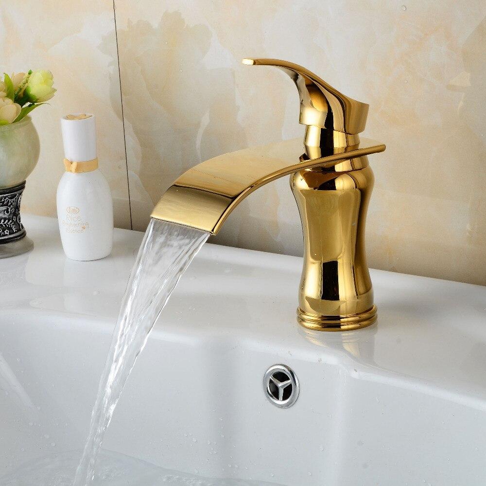 Gold finish bathroom faucet brass material basin sink mixer ...