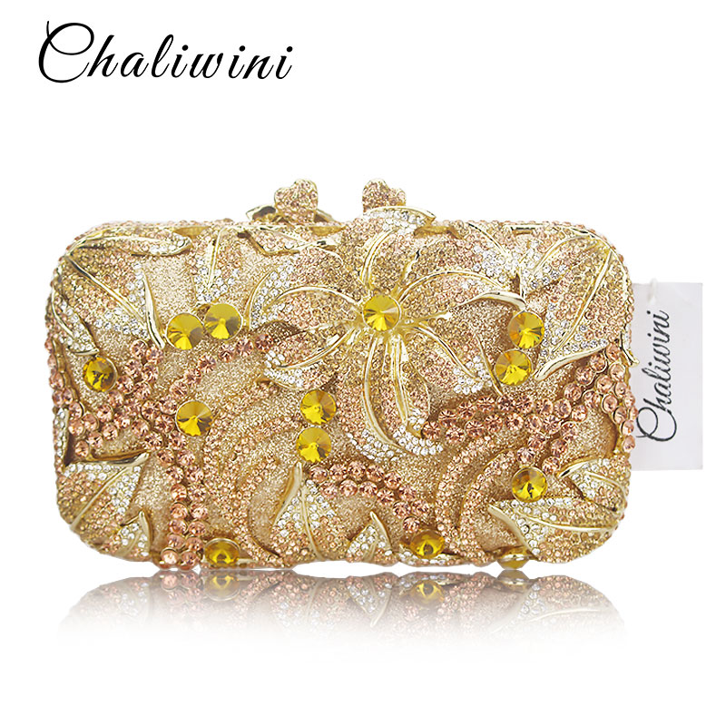 Luxury Golden Rose yellow Flower Party Purse Women Wedding Bridal Handbag Pouch Soiree Pochette Bag Crystal Clutch Evening Bag luxury crystal clutch evening bag silver and champagne party purse women wedding bridal handbag pouch soiree pochette bag