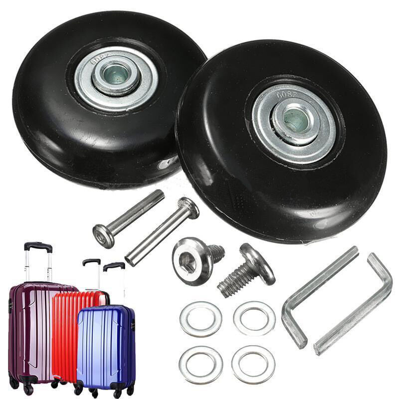New Black 2 Set Luggage Suitcase Replacement Wheels Repair OD 50mm Axles Deluxe Hot