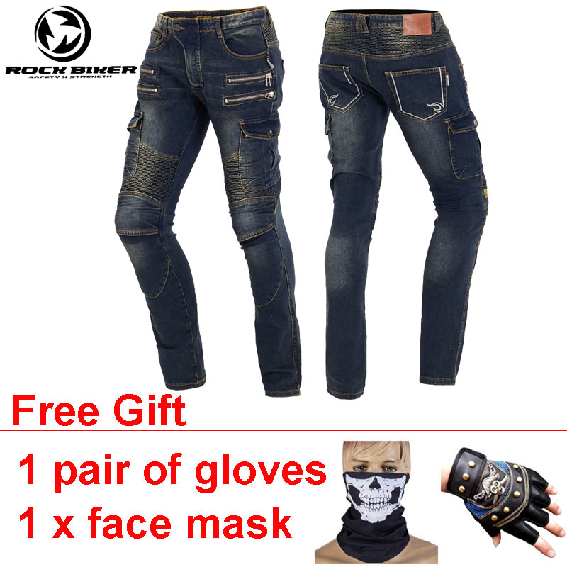 ROCKBIKER Slim Motorcycle Pants Men Pantalon Moto Hombre Jeans Folds Flexible Wearable Motocross Pants 4 Pads 8 Pockets Calca new hot sales mens jeans slim straight high quality jeans men pants hip hop biker punk rap jeans men spring skinny pants men