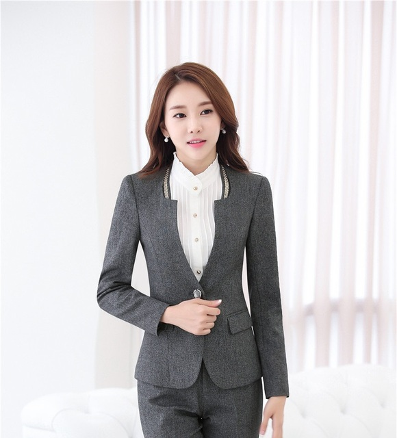 New Professional Ladies Escritório Trabalho Desgaste Blazers Outwear Casaco de Manga Longa Outono Inverno Mulheres de Negócios Blazer Jaquetas Uniformes