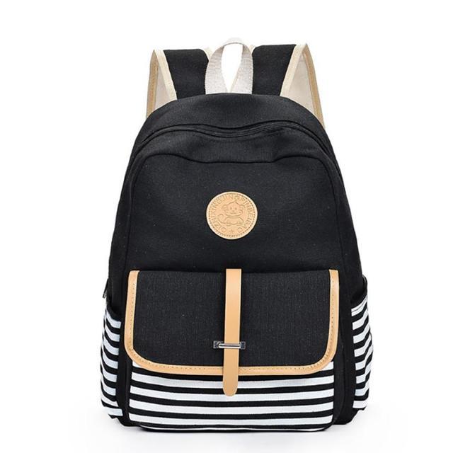 Striped Canvas Backpacks Women Backpack Vintage Canvas School Bags for  Teenager Girls Shoulder Female Travel Bag 15842159afea7