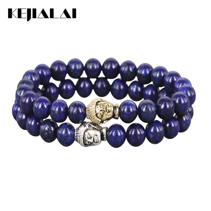 KEJIALAI 2018 New Stone Beads Bracelet Silver/Gold Color India Buddha Head Charm Bracelet Yoga Mala Bracelets A037