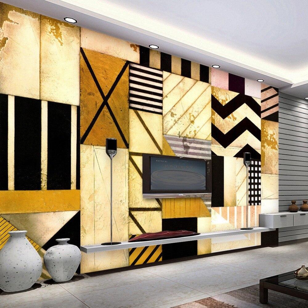 Decoration Et Peinture Salon €7.62 60% de réduction papier peint photo 3d personnalisé, décoration  géométrique abstraite, peinture du salon, canapé du fond tv, papier peint,  art