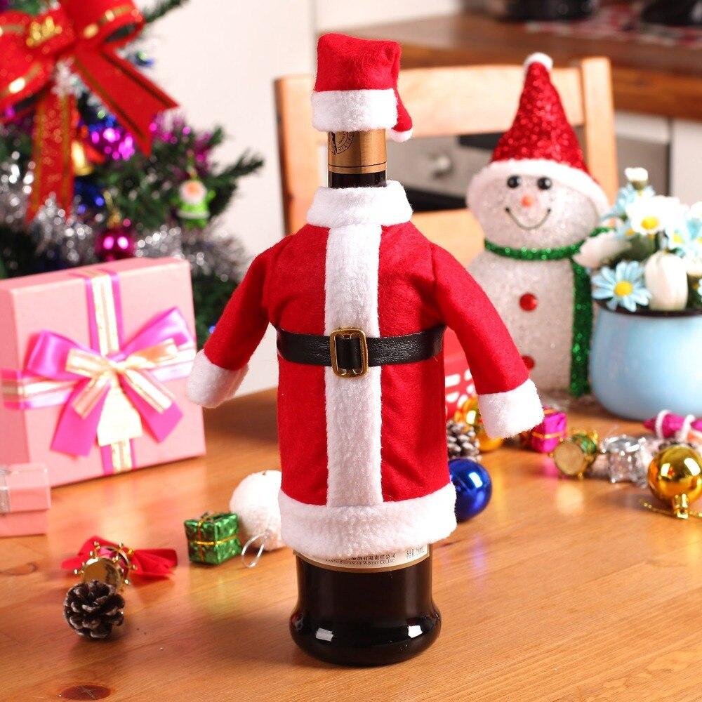 2 unids set vino tinto cubierta de la botella bolsas cena for Decoracion del hogar en navidad