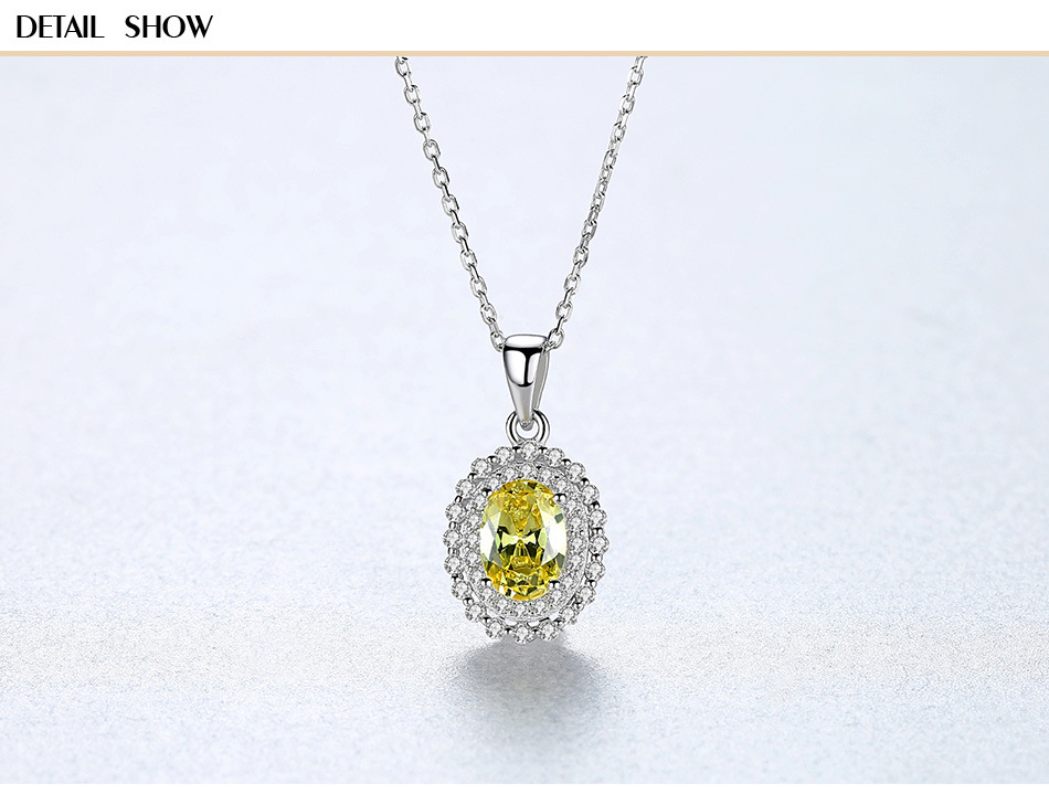 New accessories S925 sterling silver necklace green zircon pendant female necklace GS18New accessories S925 sterling silver necklace green zircon pendant female necklace GS18