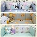 Bebê Bumper Cama 4 pcs Cama Berço Em Torno de Protetor Fox Rosa Gato Diamante Bumper Pad Para Meninas Dos Meninos 120x60 130x70 cama