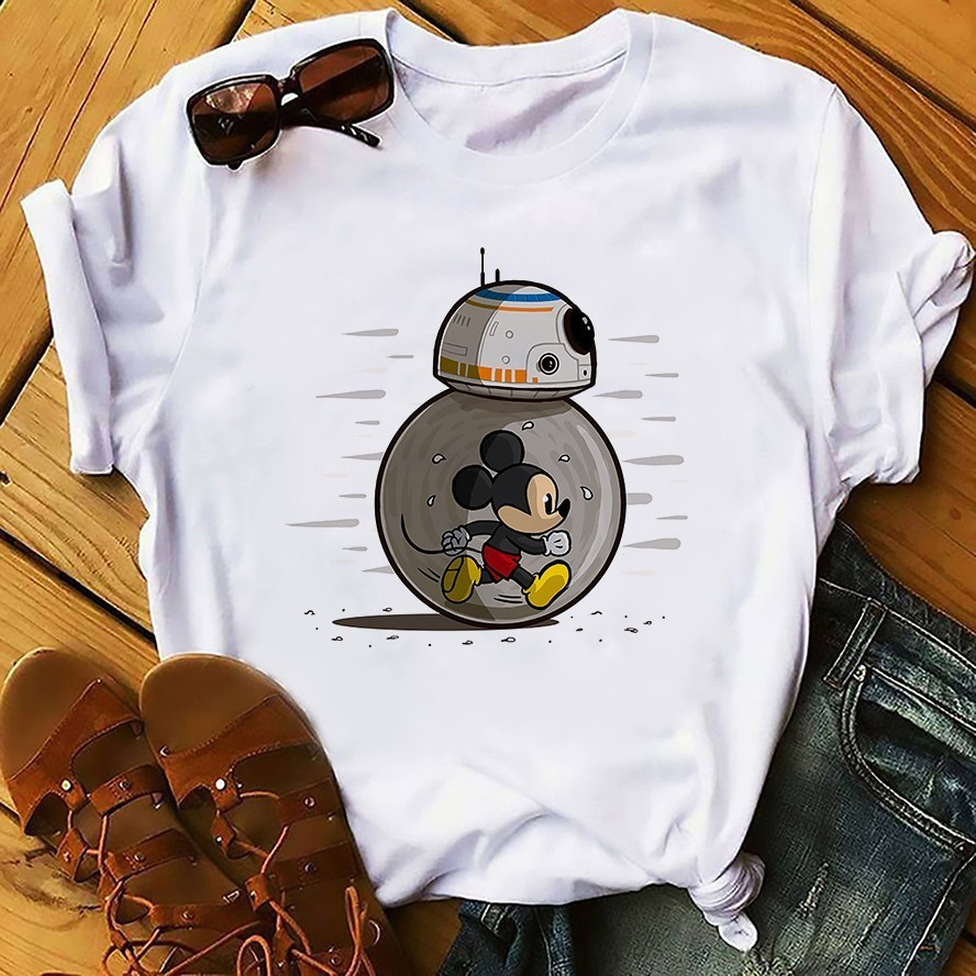 BB8 And Micky Roll Together Funny T Shirt Men 2019 Summer New White Casual Homme Cool Star War Cute BB-8 BB 8 Tshirt