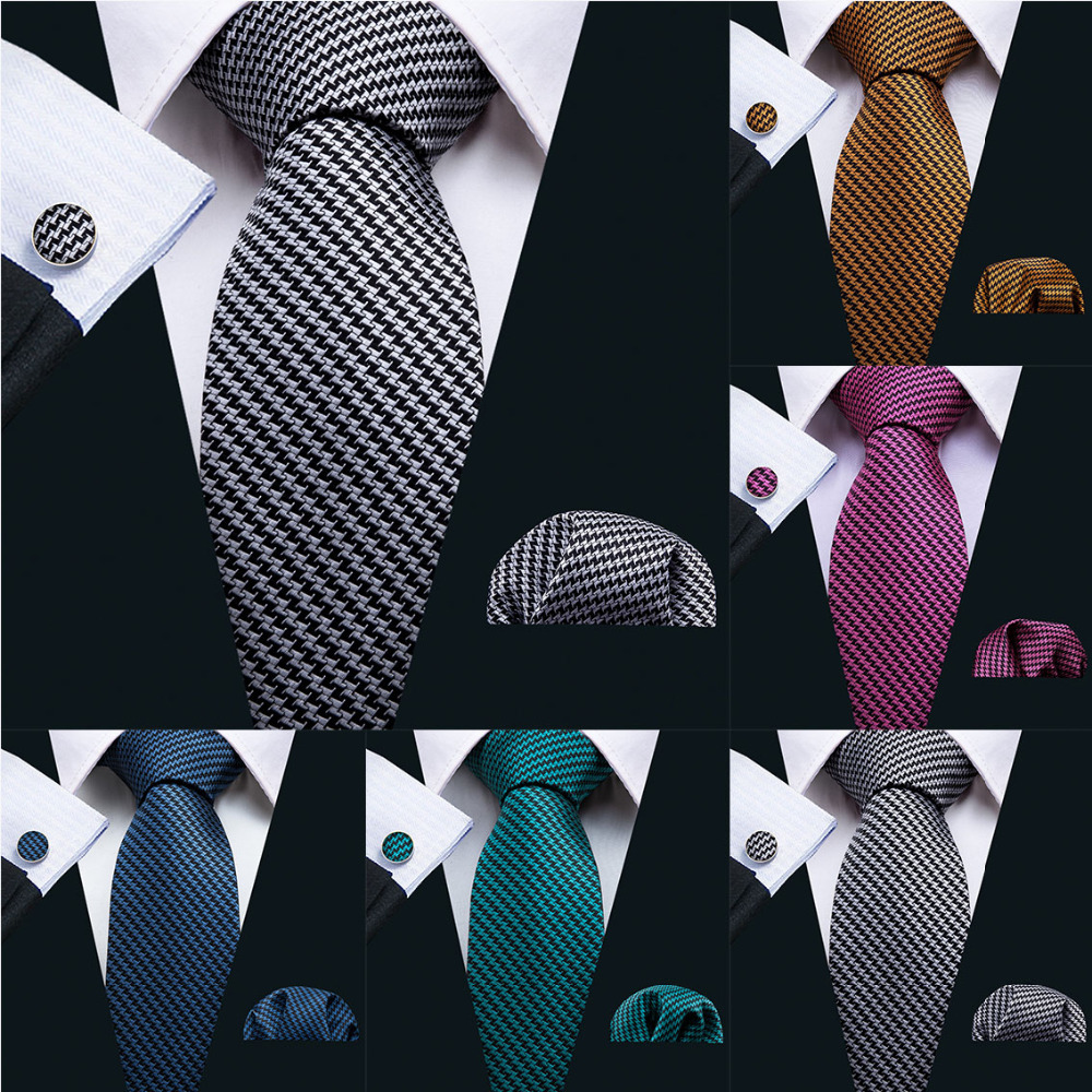 2018 New Blue Men Tie Fashion Solid Necktie 5 Colors 100% Silk Ties For Men Barry.Wang Business Style Dropshipping Tie Set LS-05
