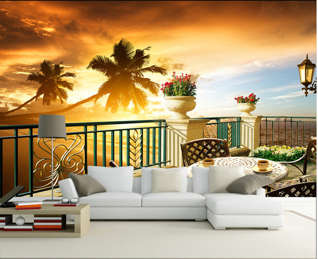 Custom 3D Photo Wallpaper, Sunset Beach, Coconut Trees For The Living Room  Balcony Bedroom