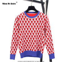 When We Retro 2018 Women New Vintage Red Leaf Warm Sweaters Long Sleeve O Neck Lurex Pullovers Autumn Knitted Tops blouse YC19