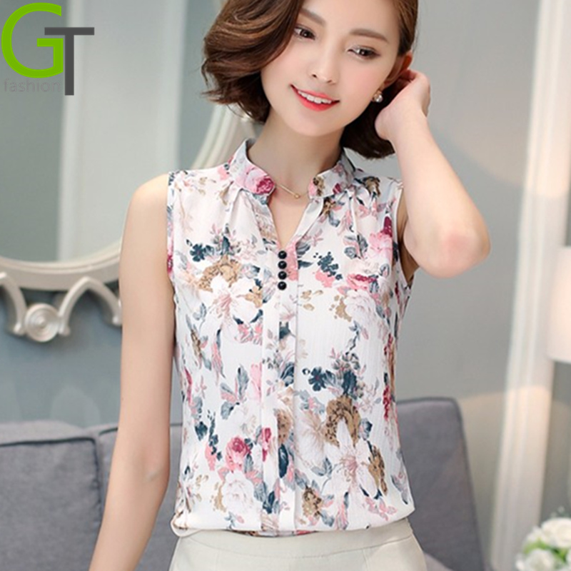 Blusas Femininas 2016 New Fashion Summer Chiffon Blouse Women Printed Sleeveless Blouse Floral Print Blouses Shirts Office Shirt