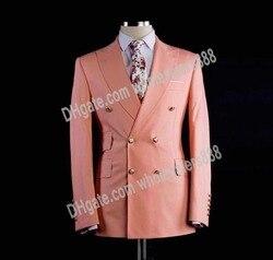 Double Breasted Bruidsjonkers Perzik/Lavendel Bruidegom Tuxedos Peak Revers Men Suits Wedding Beste Man Blazer (Jas + Broek + Tie) c514
