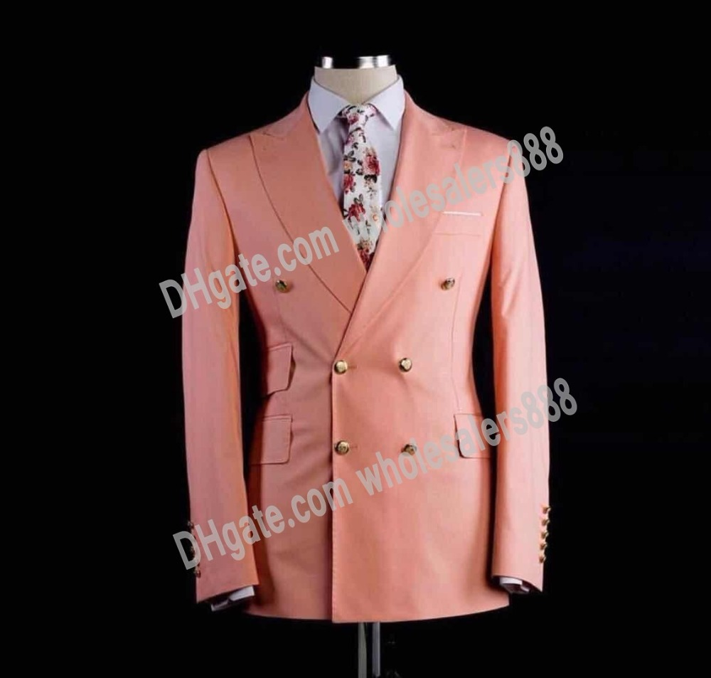 Double Breasted Groomsmen Peach/Lavender Groom Tuxedos Peak Lapel Men Suits Wedding Best Man Blazer ( Jacket+Pants+Tie ) C514