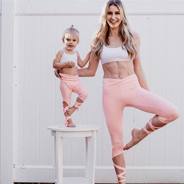 Mother And Daughter Family Clothes Women Kids Girl Fitness Crop Tube Tops Leggings Clothing Sets Family Matching Outfits