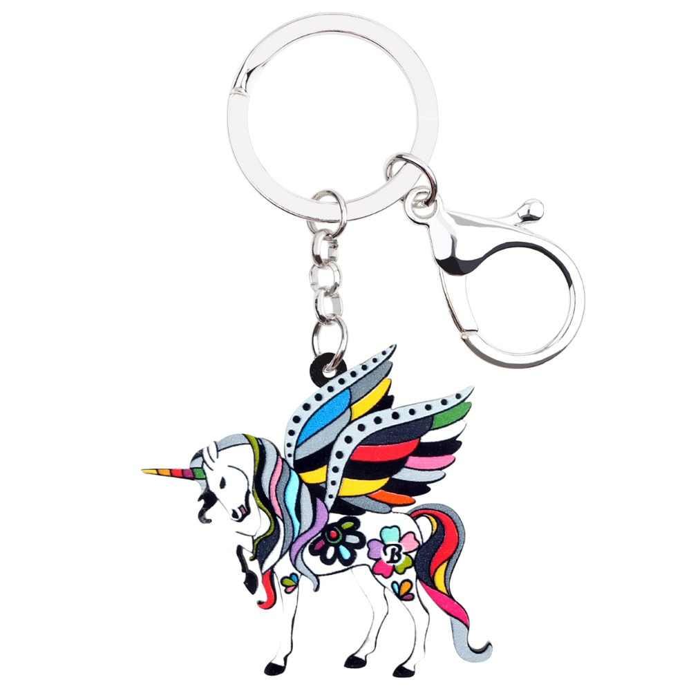 WEVENI อะคริลิคดอกไม้ Holy Unicorn Horse พวงกุญแจแหวนจี้สัตว์น่ารักเครื่องประดับสำหรับหญิงสาวกระเป๋าถือราคาถูก Charms