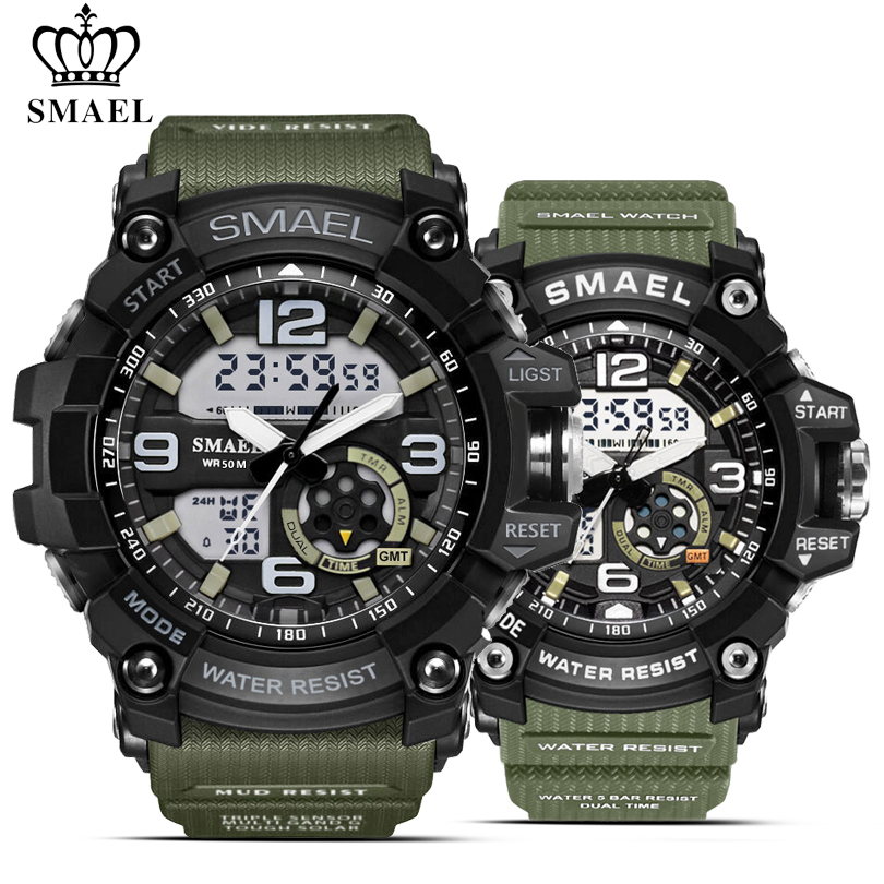 SMAEL 2PCS/Set Waterproof Sports Watches Men Army Military Dual Display Wristwatches Women Digital Watch Couple Quartz Watch