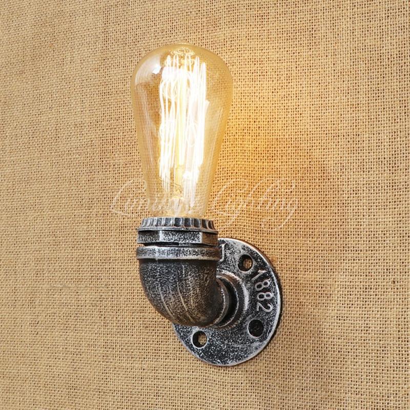 Vintage Loft Water Pipe Wall Lamp Industrial Iron Cast Flange Sconce Light For Living Room Bedroom Restaurant Bar 80v-240v E27