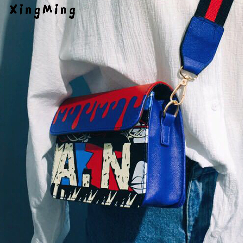 XINGMING 2019 fashion Graffiti Letter Printing women bag Colorful Unique shoulder bags for girls Personality crossbody bags