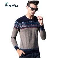 Высокое качество 100% натуральная шерсть мериноса свитер Для мужчин осень зима вязаный кашемировый Свитеры для женщин Мода Полосатый v образ