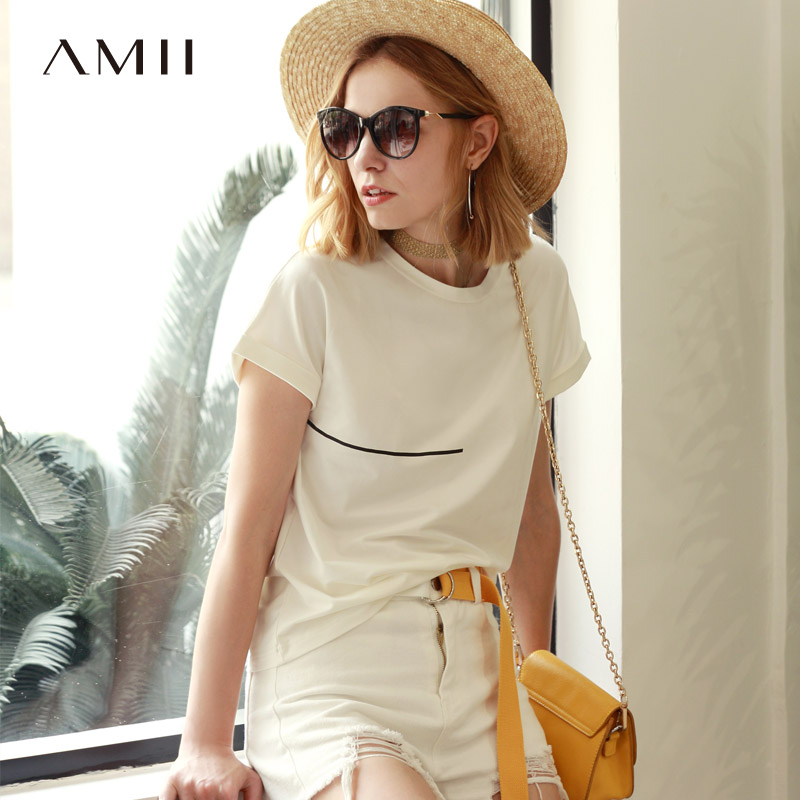 Amii Women Minimalist 2018 Summer T-Shirt Plus Size Personality Printing Female Tee Tops