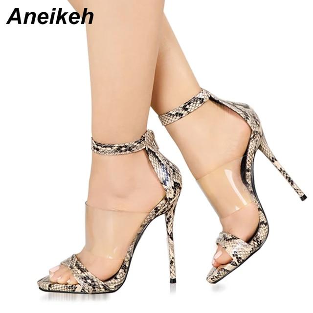 f154030de5 Aneikeh 2019 New Fashion Women's Shoes Sexy Snake Print PVC Sandals Peep  Toe Ankle Strap High Heels Pumps Party Office Shoes
