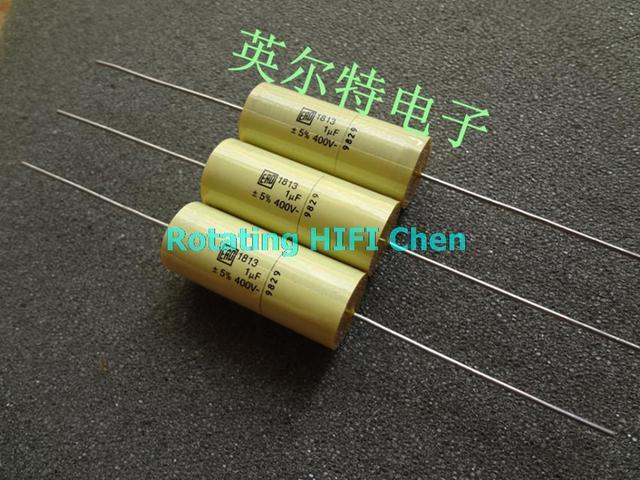 US $8 8 |2015 Yellow Supercapacitor 2pcs Vishay Ero Capacitors mkt1813 1uf  400v 105/400v ero1813 New Coupling Axial Film Capacitor 30x12-in Capacitors