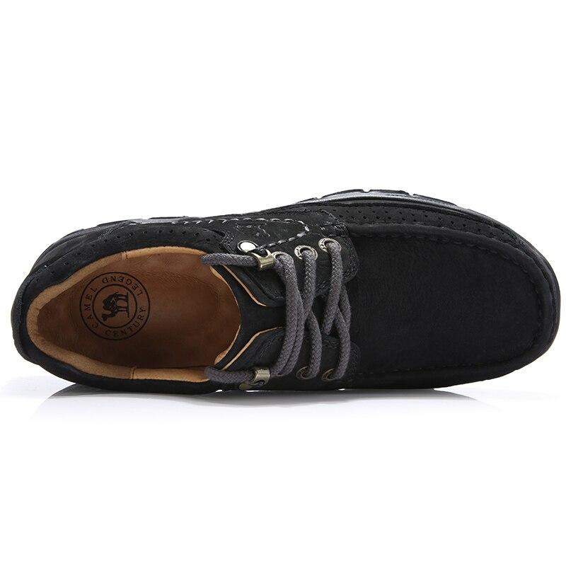 CAMEL ของแท้หนังผู้ชายรองเท้าสบายๆนุ่มสบาย Cowhide กลางแจ้งสีดำ Retro ชายรองเท้า mocassin-ใน รองเท้าลำลองของผู้ชาย จาก รองเท้า บน   3