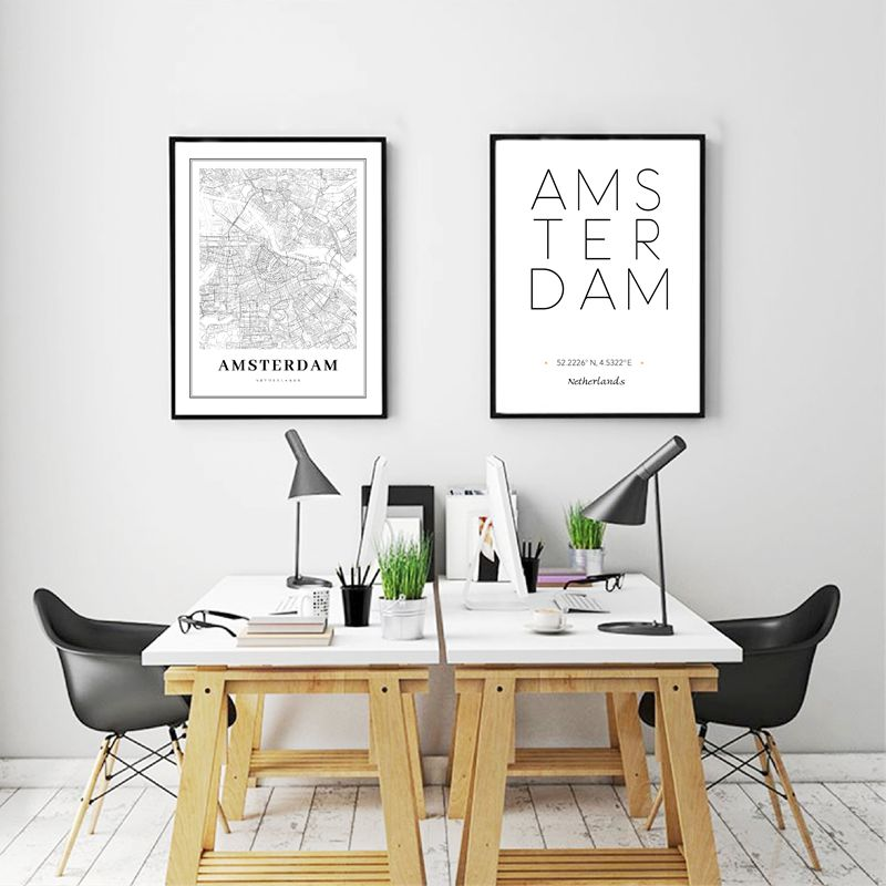 Netherlands Amsterdam City Map Poster Wall Art Canvas Painting ,Black And White Canvas Print Dutch Family Modern Art Wall Decor