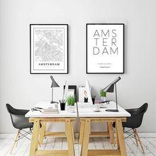 Cartel de mapa de ciudad de Holanda, cuadro sobre lienzo para pared, lienzo blanco y negro estampado familia holandesa decoración atística de pared moderna