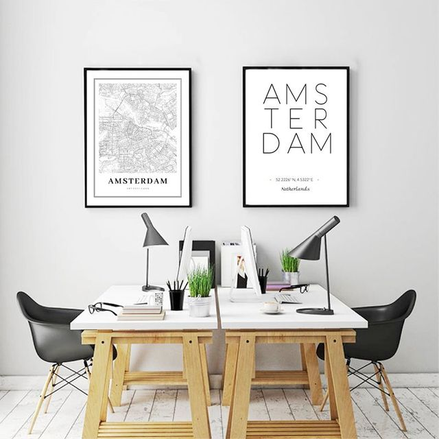 Netherlands Amsterdam City Map Poster Wall Art Canvas Painting