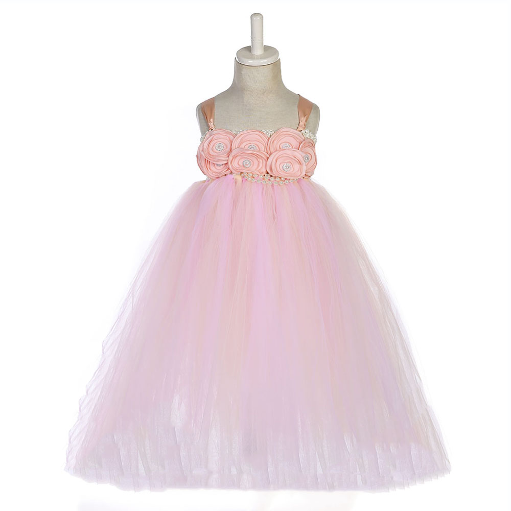 Pink Flowers Pearls Girls Bridesmaid Dresses Children Mid Calf Length Wedding Dress Girl Birthday Party Tutu Dress with Crown in Dresses from Mother Kids