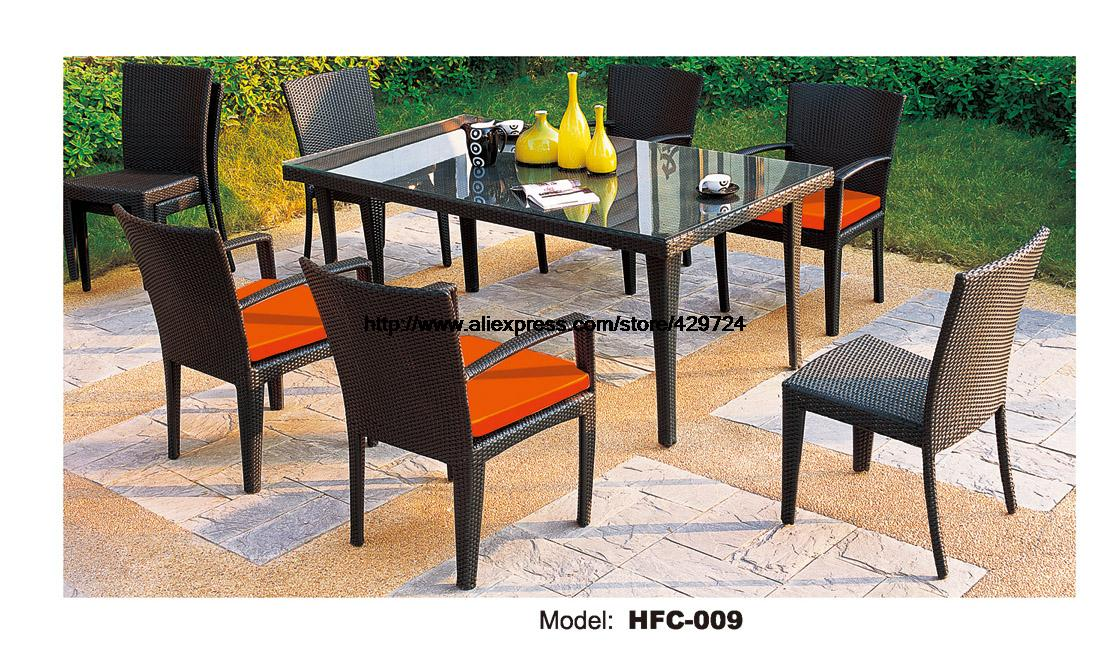Factory Price 6 PCS Garden Desk Table Chairs Balcony Outdoor Wicker Furniture Rattan Chairs Table Combination Leisure Chairs Set