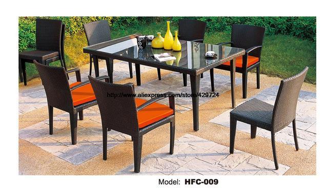 Outdoor Rattan factory price 6 pcs garden desk table chairs balcony outdoor wicker